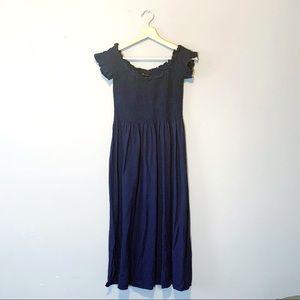 Bardot | Dress Midi Accordion Off Shoulder Blue 8
